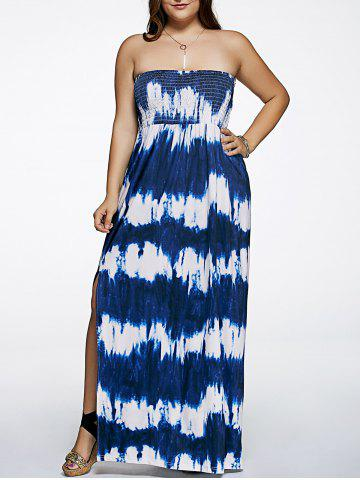 Sale Plus Size Tie Dye Maxi Strapless Dress