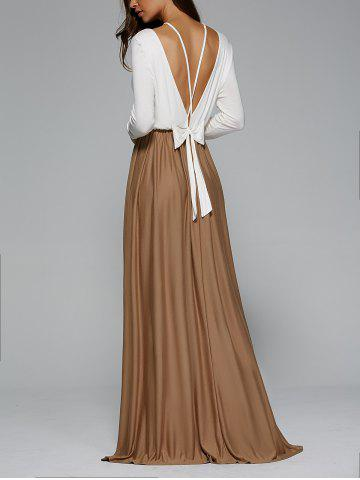 Backless Pleated Long Sleeve Maxi Prom Dress - White - M