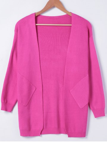 Discount Simple Long Sleeves Pocket Design Cardigan