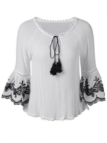 Hot Ethnic Style Tassel Tie Embroidered Blouse