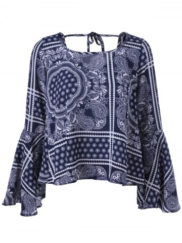 Discount Tribal Print Open Back Bell Sleeves Blouse