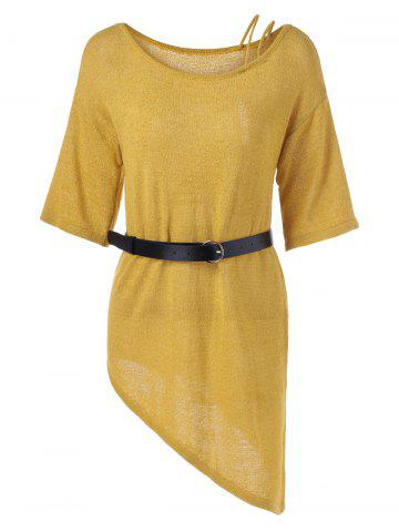 Discount Asymmetrical 1/2 Sleeve Sweater Dress