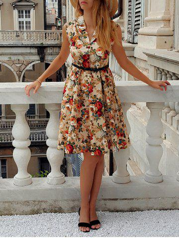 Fancy Retro Turn-Down Collar Sleeveless Ball Gown Floral Print Dress For Women
