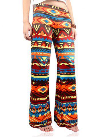 Wide Leg Tribal Colorful Print Palazzo Exumas Pants - Colormix - 2xl