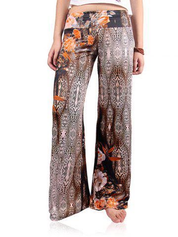 Outfit Floral Leopard Print Wide Leg Exumas Palazzo Pants COFFEE 2XL