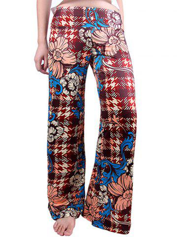 Chic Houndstooth Flowers Wide Leg Palazzo Pants DEEP RED 2XL