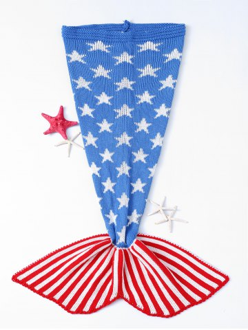 Stars and Stripes Pattern Knitting Mermaid Shape Blanket - Colormix - W31.50inch*l70.70inch
