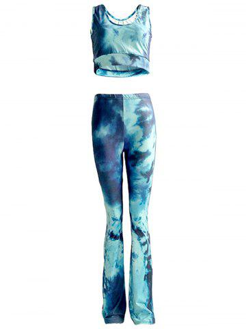 Chic Tie Dye Tank Top and High Waist Pants Set For Women - Blue - S