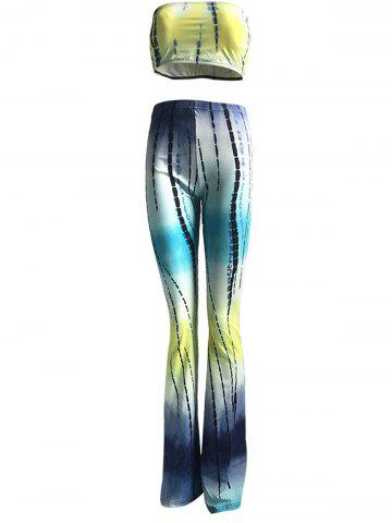 New Colorized Padded Crop Top and High Waist Pants Suit For Women