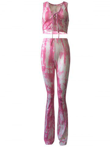 Shops Casual Lace Up Tank Top and Tie Dye Pants Set For Women