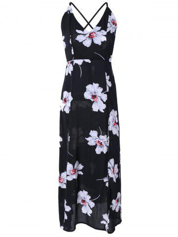 Outfit Crossover Backless High Slit Floral Maxi Dress BLACK XL