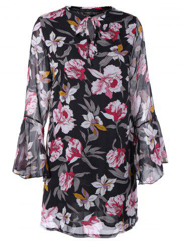 Fancy Floral Long Flare Sleeve Short Dress
