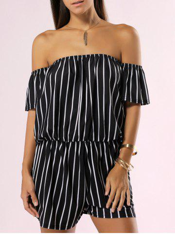 Fashion Off The Shoulder Backless Striped Romper