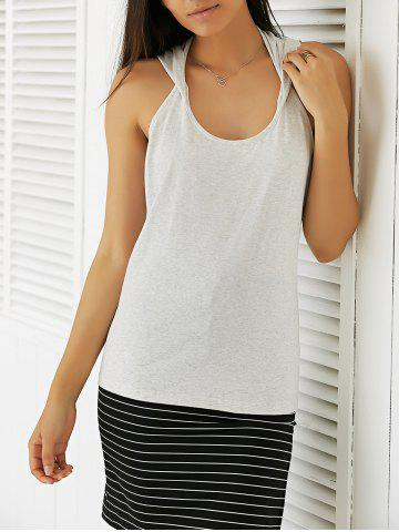 Hooded Casual Tank Top - Light Gray - S