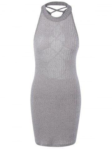 Best Hollow Out Ribbed Bodycon Bandage Mini Dress GRAY M