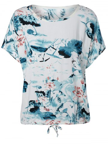Outfit Ink Painting Water Lily Pattern Blouse