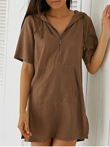Chic Pocket Design Hooded Casual T Shirt Dress - L DEEP BROWN Mobile