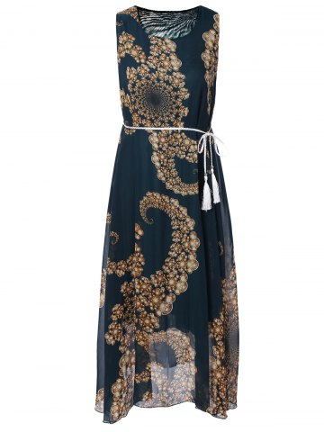 Hot Flowing Tie Belt Print Dress