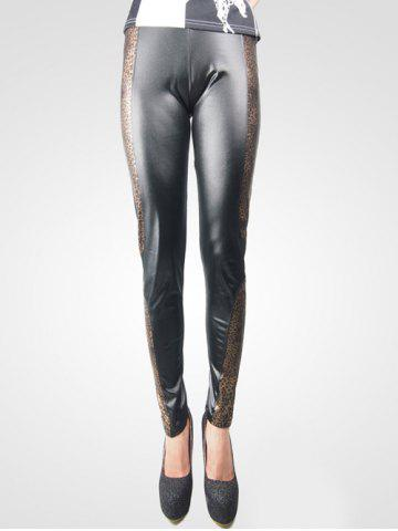Shop Fashionable Leather Leopard Leggings For Women -   Mobile
