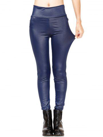 Shops Simple Pure Color Leather Leggings For Women