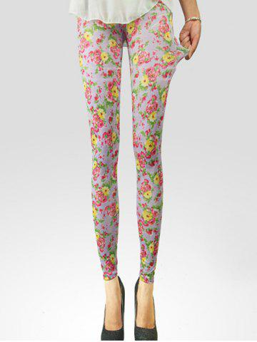 Shops Floral Elastic Waist Leggings For Women