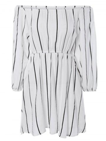 Discount Simple Off-The-Shoulder Striped Dress For Women