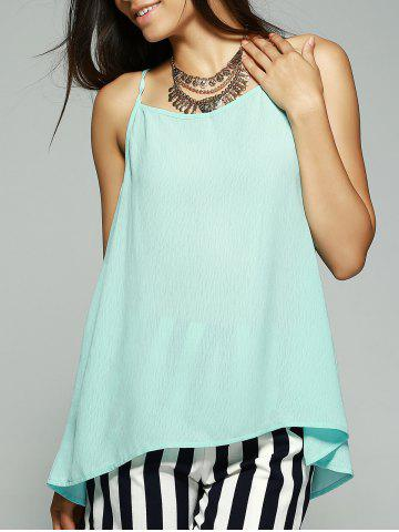 Simple Style Women's Bowknot Decorated Chiffon Tank Top - Light Blue - S