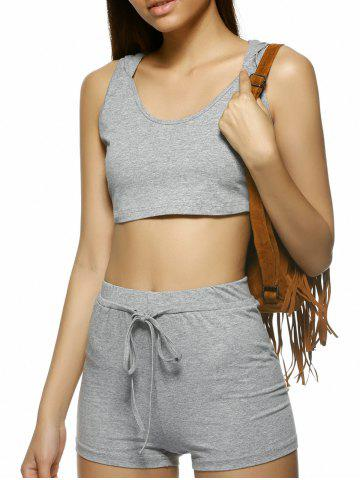 Buy Stylish Pure Color Sleeveless Knitting Hooded Twinset Women - Light Gray L