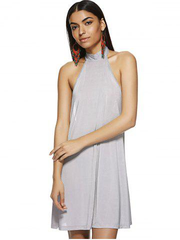 Discount Hang A Neck Backless Dress For Woman LIGHT GRAY M