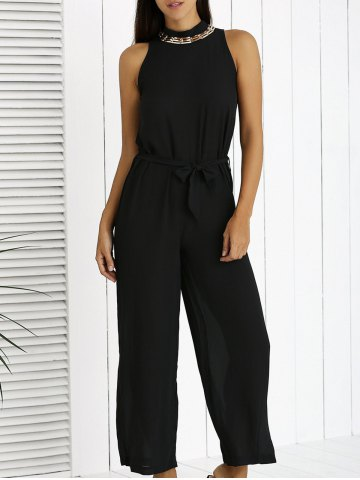 Discount Elegant Bowknot Black Wide Leg Jumpsuit