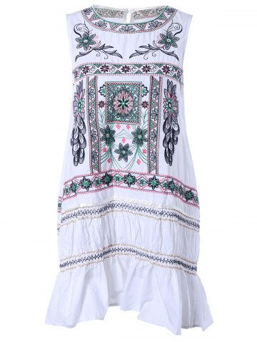 Buy Ethnic Style Sleeveless Embroidery Print Dress