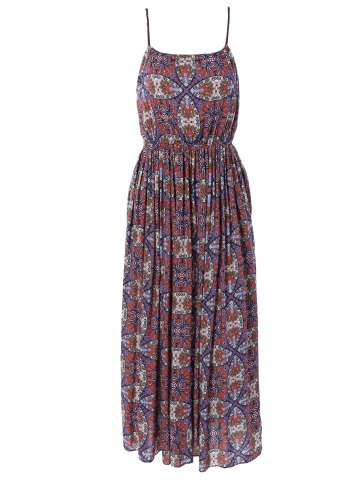 Chic Ethnic Print Spaghetti Strap High Waist Dress