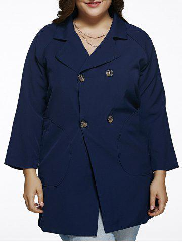 Double Breasted Plus Size Trench Coat - Deep Blue - 3xl