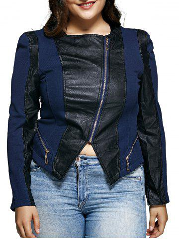 Outfit Diagonal Zipper Asymmetric Leather Spliced Jacket - XL BLUE AND BLACK Mobile