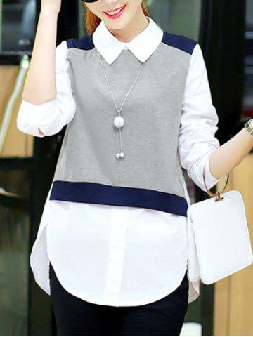 Store Trendy Knitted Vest Splicing High Low Furcal Shirt For Women