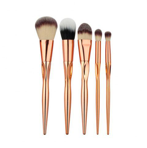 Buy Stylish 5 Pcs Plating Handle Nylon Facial Eye Makeup Brushes Set