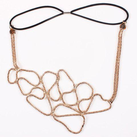 Fancy Stylish Hollowed Chain Elastic Headband For Women - GOLDEN  Mobile