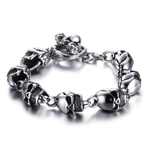 Shop Chic Burnished Skulls Bracelet For Men