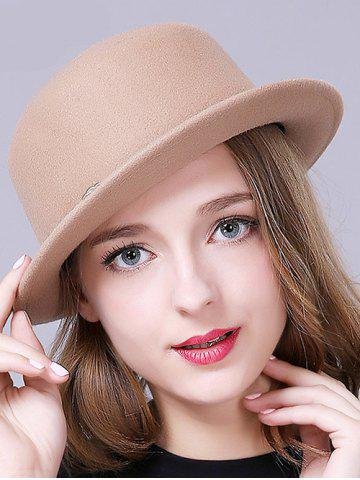 Trendy Stylish Braid Decorated Bowler Hat - CAMEL  Mobile