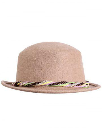 Shops Stylish Braid Decorated Bowler Hat - CAMEL  Mobile