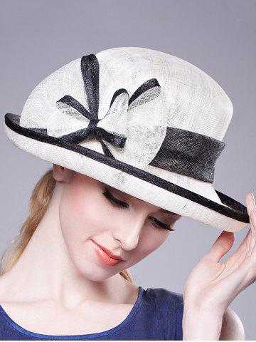 Outfits Stylish Bowknot Linen Bowler Hat - WHITE  Mobile