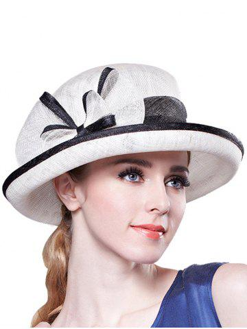 Discount Stylish Bowknot Linen Bowler Hat - WHITE  Mobile