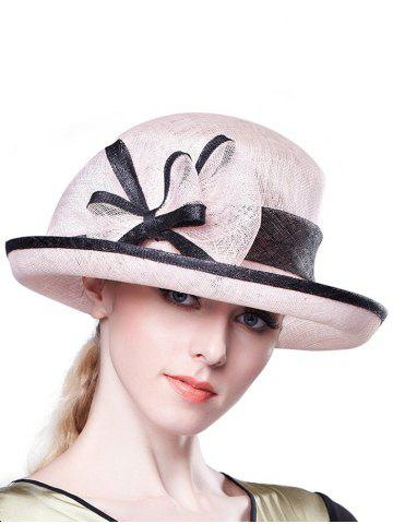 Outfits Stylish Bowknot Linen Bowler Hat - PINK  Mobile