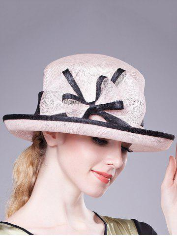 New Stylish Bowknot Linen Bowler Hat - PINK  Mobile