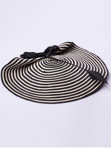 Shops Bowknot Stripe 18th Century Straw Hat - WHITE AND BLACK  Mobile