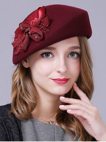 Store Stylish Bowknot Wool Beret - CLARET  Mobile