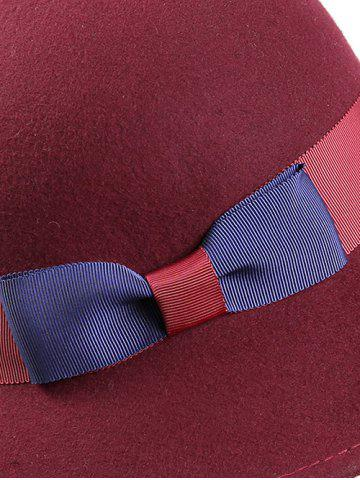 Affordable Stylish Bowknot Wool Bucket Hat - CLARET  Mobile