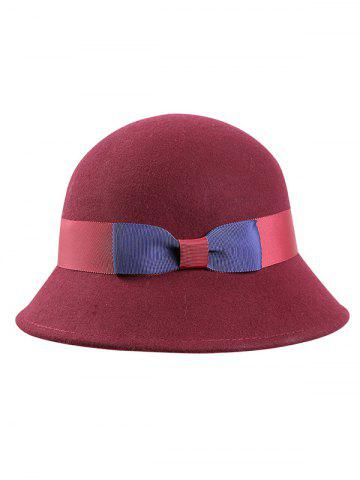 Discount Stylish Bowknot Wool Bucket Hat - CLARET  Mobile