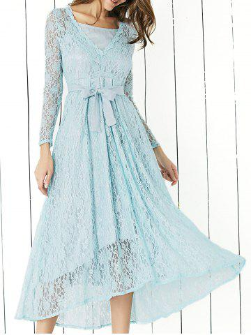 Shop Lace Long Sleeve Swing Wedding Evening Dress BLUE XL