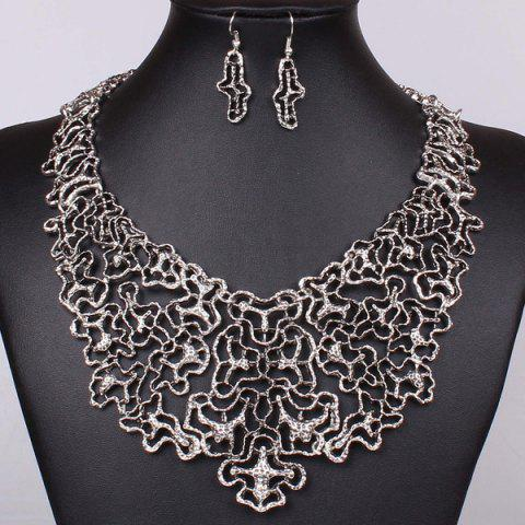 Unique A Suit of Irregular Filigree Necklace and Earrings